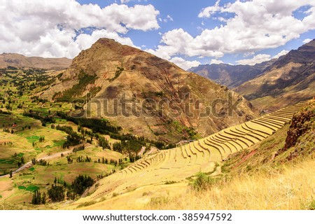Landscape of the Sacred Valley of the Incas in Peru - stock photo