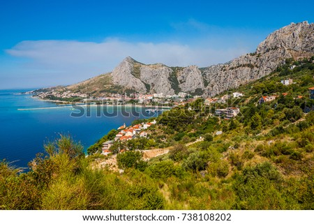 Landscape of the town Omis, Croatia. Dalmatia Coast.