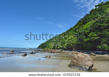 Landscape of Thornton Beach at Cape Tribulation in Daintree National Park in the far tropical north of  Queensland, Australia - stock photo
