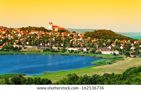 Landscape of Tihany at the inner lake, Hungary - stock photo