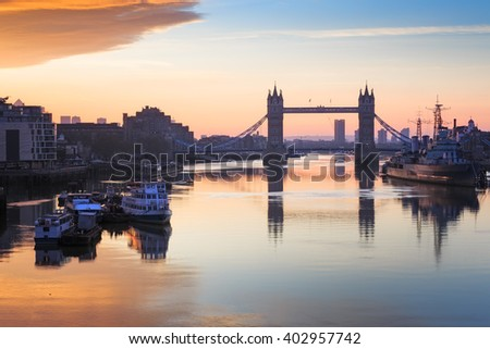Landscape Of Tower Bridge in London at sunrise , UK. - stock photo