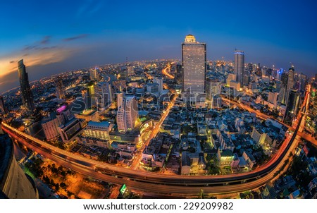 Landscape of transportation in Bangkok city in night time with bird view - stock photo