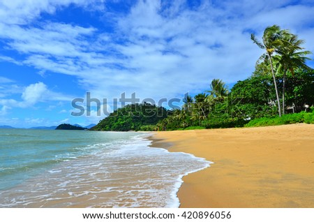 Landscape of Trinity beach near Cairns in Tropical North Queensland, Queensland, Australia. - stock photo