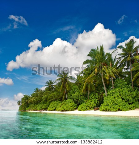 landscape of tropical island beach with palm trees and cloudy blue sky - stock photo