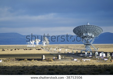 Landscape of Very Large Array of Radio Telescopes - stock photo