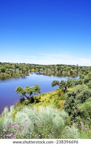 landscape of Vigia dam, Portugal - stock photo