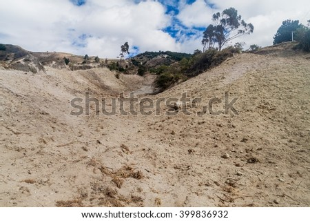 Landscape of volcanic ash near Quilotoa crater, Ecuador - stock photo