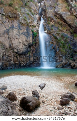 Landscape of waterfall is in natural tropical rainforest. - stock photo