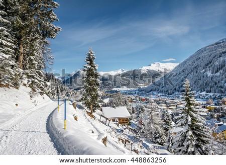 Landscape of winter resort  Davos from panorama hiking path, Switzerland. - stock photo