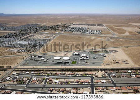 Landscape of Yuma, Arizona off Interstate 8 looking South at Mexico - stock photo