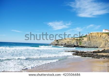 Landscape of Zambujeira beach, Portugal - stock photo