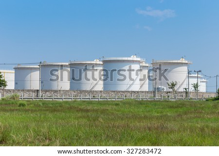 landscape Oil storage tanks - stock photo