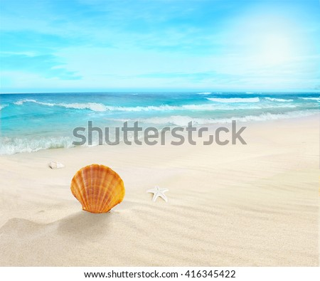 Landscape on sunny beach. - stock photo