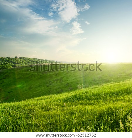 landscape on sunset - stock photo