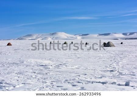 Landscape on the ice reservoir. Unga Bay. Bratsk reservoir, Irktsk Region, Russia - stock photo
