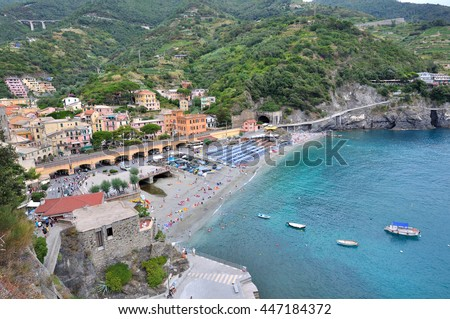 landscape overlooking on the beach at Monterosso, finve lands- Italy - stock photo