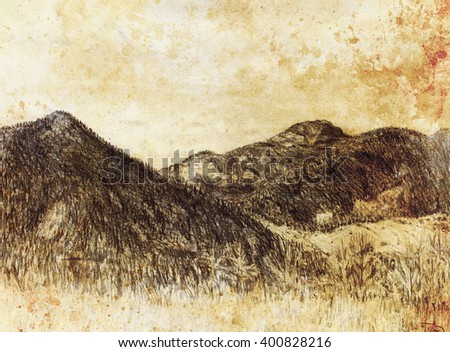 landscape painting and mountain  on old paper background. - stock photo