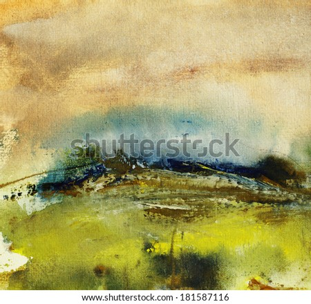 Landscape painting on handmade paper, art background        - stock photo