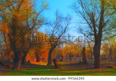 Landscape painting showing beautiful forest on sunny spring day.