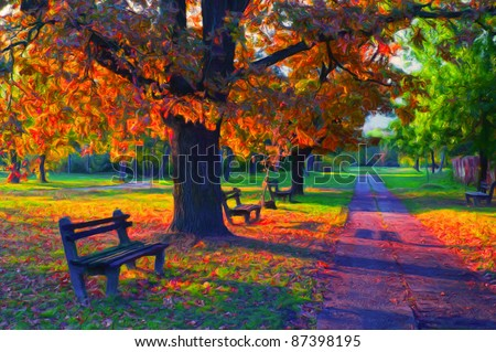 Landscape painting showing beautiful sunny autumn day in the park. - stock photo