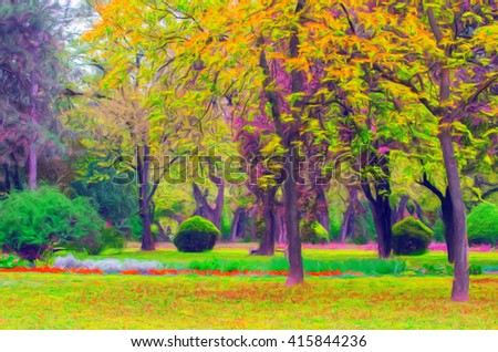 Landscape painting showing blooming of flowers in park in spring.