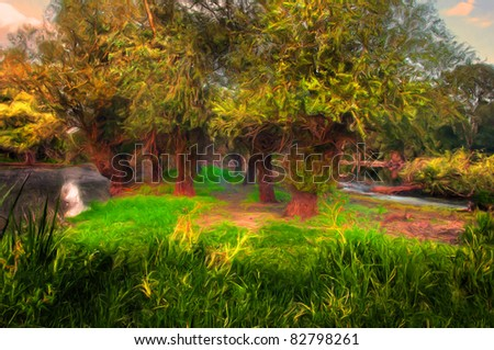 Landscape painting showing colorful wild forest in autumn. - stock photo