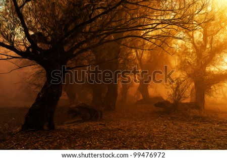 Landscape painting showing creepy forest on misty autumn day. - stock photo