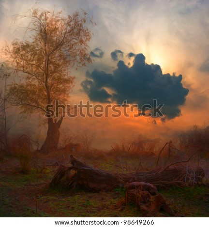 Landscape painting showing creepy tree at dark cloudy autumn morning. - stock photo