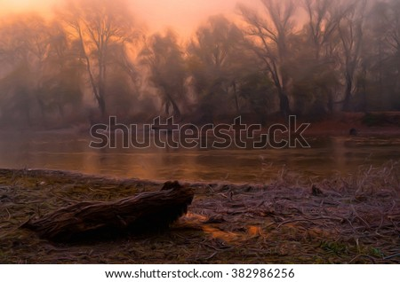 Landscape painting showing deforestation beside river and forest on other side. - stock photo