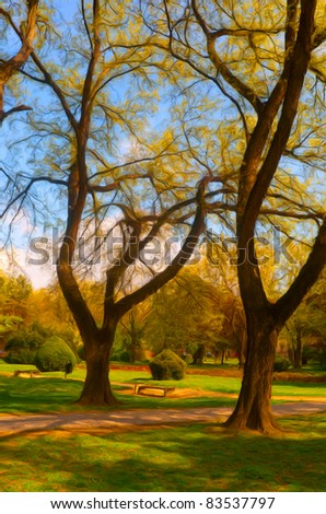 Landscape painting showing detail of the beautiful park in the autumn. - stock photo