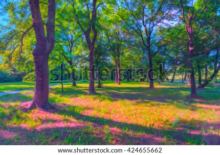 Landscape painting showing park and walkway on sunny spring day. - stock photo