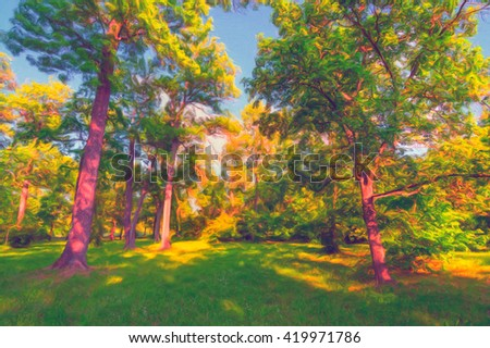 Landscape painting showing spring forest on beautiful sunny day. - stock photo