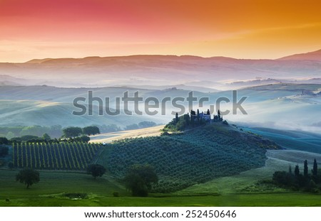 Landscape panorama, hills and meadow, Toscana - Italy - stock photo
