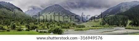 Landscape Panorama of Betaab Valley, Anantnag, Jammu and Kashmir, India