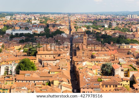 Landscape (panorama) of Bologna (Italy) from highest tower in city center - stock photo