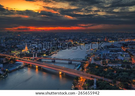 Landscape panoramic Temple of the Dawn - Wat Arun, twilight time stunning sky in Bangkok city, Thailand. - stock photo