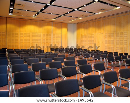 Landscape photo of conference room interior from the front.