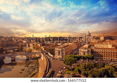 Landscape photo of rome - stock photo