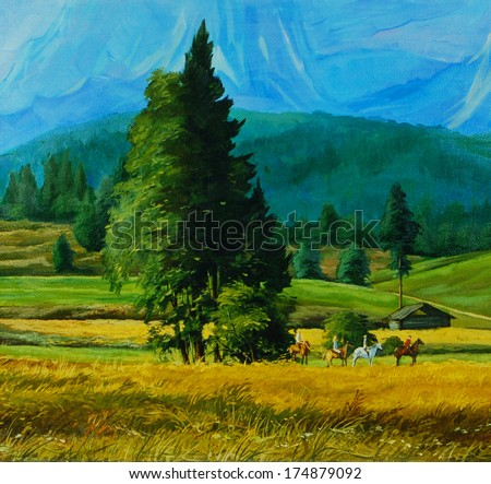 landscape picture with group of horse equestrians in mountains,illustration - stock photo