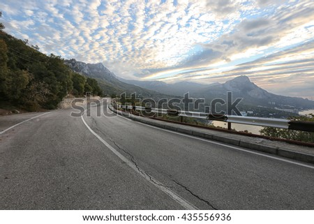 landscape picturesque mountain road in Crimea, Laspinsky pass