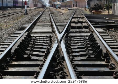 Landscape, railway crossroad in Thailand - stock photo