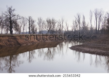 landscape river and trees with no leaves on the shores of foggy morning in early spring - stock photo