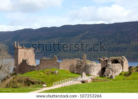 Landscape Ruins of Urquhart Castle at Loch Ness Inverness Highlands Scotland UK - stock photo