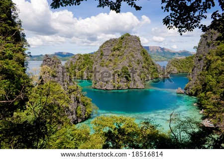 Landscape scenery of rock formations and a lagoon at Palawan, Philippines