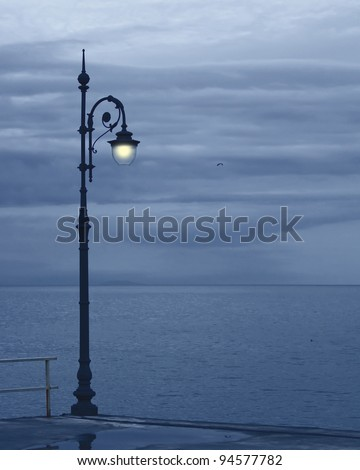 Landscape: sea and streetlight late night - stock photo