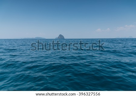 Landscape summer on the sea and formations mountain at andaman Thailand - stock photo