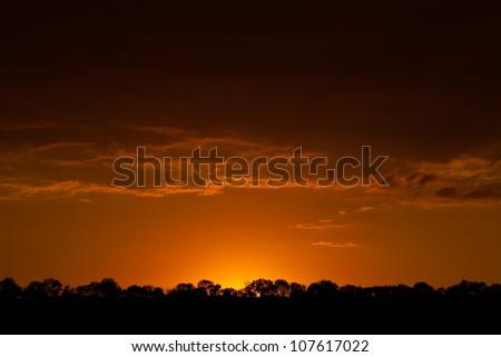 Landscape. Sunset - stock photo
