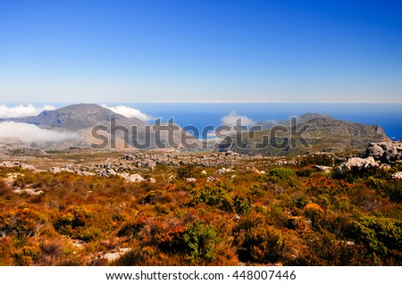 Landscape surrounding Table Mountain in Cape Town, South Africa. - stock photo