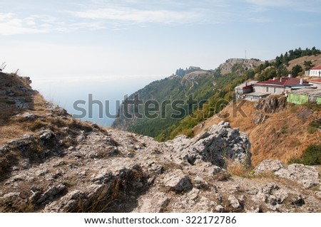 Landscape view at the top of Ai-Petri mountain in Crimea - stock photo