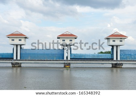 Landscape view, barrage towers in Thailand. - stock photo